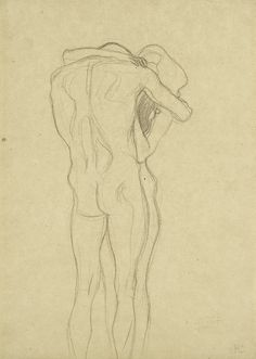 Embracing Couple, sketch for Beethoven frieze, Klimt. (1902) Leopold Museum, Vienna.