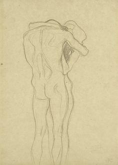 Embracing Couple, sketch for Beethoven frieze, Klimt. (1902) Leopold Museum, Vienna.