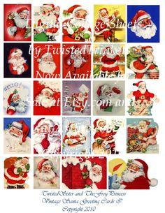 Vintage Santa Greeting Cards I Digital Collage by TwistedTrinkets, $2.99