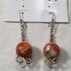 Sterling Silver Glass bead drop earrings New without tags Sterling silver Jewelry Earrings
