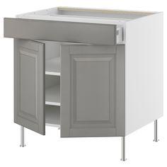"AKURUM Base cabinet/shelves/drawer/2 doors - white, Lidi gray, 24 "" - IKEA"