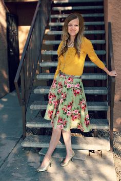 showing my homemade skirt on the blog again. Pattern and Fabric from Walmart!  The House of Shoes