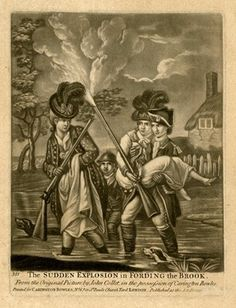 Satire; a young man carries a woman in his arms across a river, whose fowling piece accidentally goes off, striking the hat of another woman who is wading across beside them on the left. Mezzotint with some etching