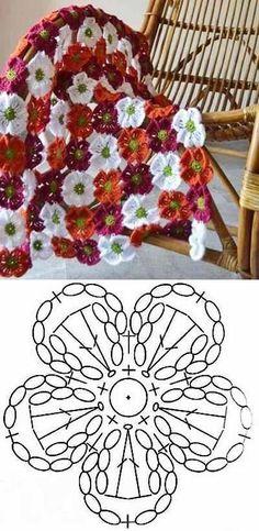 Watch The Video Splendid Crochet a Puff Flower Ideas. Phenomenal Crochet a Puff Flower Ideas. Crochet Shawl Diagram, Crochet Motifs, Crochet Flower Patterns, Crochet Chart, Crochet Squares, Crochet Designs, Crochet Flowers, Crochet Lace, Crochet Stitches