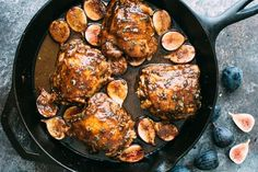Balsamic & Mustard Glazed Chicken Thighs and Figs — Pair fresh figs with extra-crispy-skinned chicken thighs and you've got a seasonal dinner that's just a little sweet but exceptionally savory, thanks to zippy Dijon, plenty of garlic, and fresh sage.
