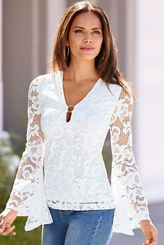 A single gold-tone ring creates a sexy peek-a-boo neckline on this beautiful lace knit top with long flare sleeves. Fully lined.& By Alexia Admor. Blouse Styles, Blouse Designs, Casual Wear, Casual Outfits, Blouse Vintage, Lace Tops, Fashion Dresses, Lace Ring, Clothes For Women