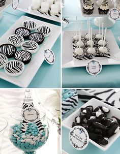 Tiffany Blue & Zebra Stripe Dessert Table by The Couture Cakery, via Flickr Photos by: www.lesliegilbertphotography.com    For details visit by blog:  www.couturecakeryblog.net/2011/03/zebra-dessert-table.html