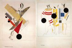 """E. Lissitzky. Faire l'opéra """" La victoire sur le Soleil"""".  Gauche: """"Le voyageur de tous les âges,"""" Figurina. À droite: """"Les athlètes"""" Figurina"""