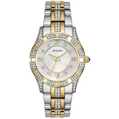 Bulova Ladies' Swarovski Crystal-Accented Two-Tone Stainless Steel... ($319) ❤ liked on Polyvore featuring jewelry, watches, two tone, quartz movement watches, water resistant watches, crown jewelry, 2 tone watches and stainless steel watches
