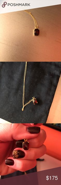 Garnet pendant with chain. Lovely stone with 18 inch chain. Jewelry Necklaces