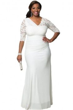 Plus Size Womens Elegant Half Sleeves White Gown / Wedding Gown1X-3X #Unbranded #SexyWeddingGownBallGown #Formal
