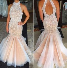 Beading Prom Dresses,Mermaid Prom Gown,Champagne Prom Dresses,Mermaid Prom