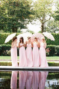 Pink bridesmaids. Donna Morgan, Spring 2014