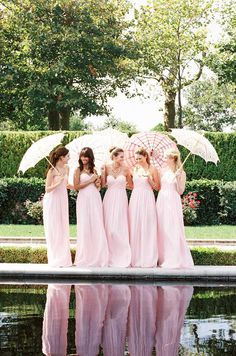 Pink bridesmaids. Donna Morgan, Spring 2014