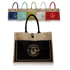 Jute Tote Bags with Cotton Pocket | TOT3777 - Discount Mugs