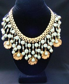 Vtg Miriam Haskell Signed Seafoam Green Glass and Shell Bib Necklace 5 Days Only | eBay