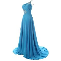 Diyouth One Shoulder Beaded Long Mermaid Bridesmaid Dresses with Train (295 BRL) ❤ liked on Polyvore featuring dresses, gowns, beaded gown, blue bridesmaid dresses, blue evening gown, long gowns and blue gown