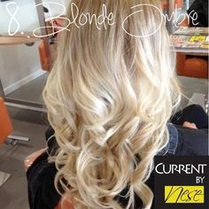 8. Blondes can rock Ombre too! Going from a darker, ashy blonde to bright white tips creates a subtle, yet fashion forward look! Blonde hair is a great candidate for reverse Ombre too.