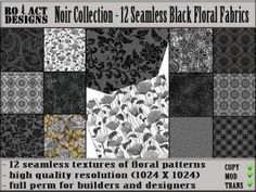 Noir Collection - 12 Seamless Black Floral Fabrics Poster | Flickr - Photo Sharing!