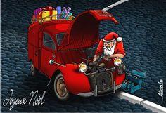 noel automobile Trois père Noël dans une voiture rouge #automobile #voiture #noel  noel automobile