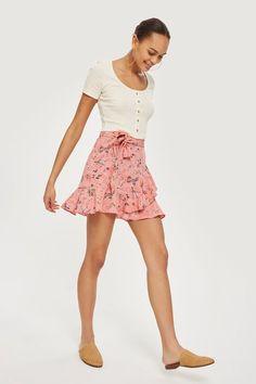 Ruffle Tie Mini Skirt
