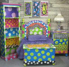 Funky hand painted furniture. Would love to do this to a white dresser I have for my daughter.
