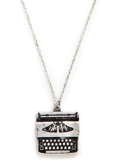 Raise the Typebar Necklace. For the gal who doesnt want to look like a carbon copy of the crowd, this eye-catching typewriter necklace is a must! #silver #modcloth