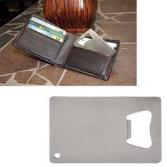 Credit card sized bottle opener, never forget it again! Perfect for new bars, restaurants, catering companies. Catering Companies, Travel Items, Card Sizes, Bottle Opener, Innovation, Wallet, Hospitality, Restaurants, Cards