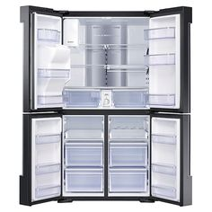 Family Hub Flex French Door Smart Refrigerator in Stainless - The Home Depot Best Counter Depth Refrigerator, 4 Door Refrigerator, Stainless Steel Refrigerator, Stainless Steel Kitchen, Black Stainless Steel, Cabnits Kitchen, Lac Saint Jean, French Doors Patio, Drawer Handles