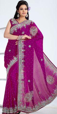 Magenta Chiffon #Embroidered #Saree Blouse | @ $194.27