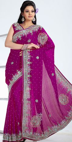 Magenta Chiffon #Embroidered #Saree Blouse | @ $194.27