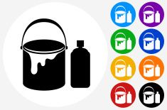 Paint Bucket Spray Can Icon on Flat Color Circle Buttons vector art illustration