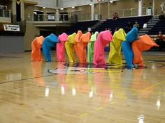 color body bags-blob dance Kids Talent Show Ideas, Camp Skits, Dance Baile, Pep Rally Games, Read Across America Day, Show Dance, Dance Choreography, School Items, Music Activities
