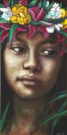 Postcards from Polynesia – Art by Tania Wursig Polynesian Art, Atelier D Art, Hawaiian Art, Flower Landscape, Vintage Hawaii, Australian Artists, Mixed Media Canvas, Face Art, Art Faces