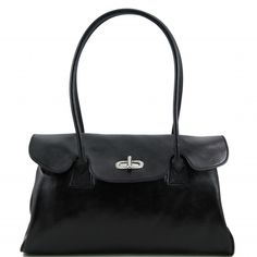 Italian black leather ladies bag - Rosita.FlapRigid structureInside part2 compartmentsInside zip pocketSmartphone holderMobile phone holderPen holder -