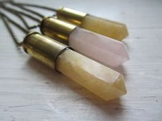 Bullet & Butterscotch Quartz Point - Set into Empty Bullet Casing - Bullet Jewelry