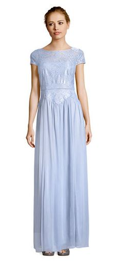 9c33986ac42f6 Adrianna Papell | Short Sleeve Tulle Gown with Metallic Lace Bodice  Metallic Lace, Metallic Thread