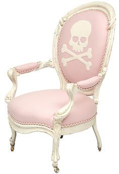 skull & crossbones on pale pink with white | '1stdibs'