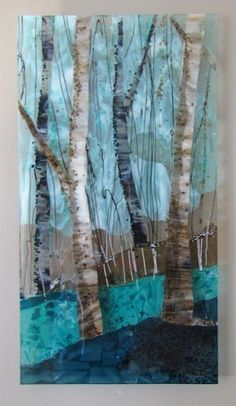 Trio of Trees: Fused Glass Art-Glass Panel Sculpture by Alice Benvie Gebhart♥🌸♥ Glass Wall Art, Fused Glass Art, Stained Glass Art, Raku Pottery, Mosaic Art, Mosaic Glass, Glass Fusion Ideas, Glass Fusing Projects, Glass Design