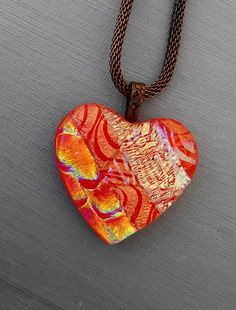Valentine Jewelry Fused Glass Heart Dichroic Fused by GlassCat