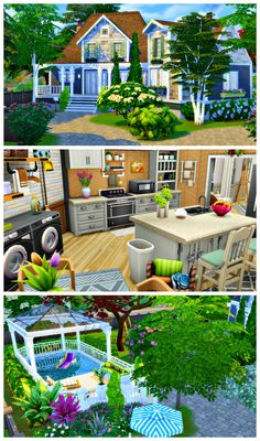 """beautifulplumbobs: """""""" Fairlawn 'Fairlawn' is an idyllic family home, best suited for the town of Brindleton Bay. This house features an open-plan kitchen/dining room, a spacious family living room,. The Sims, Sims 3, Sims 4 Family House, Home And Family, Sims Building, Building Ideas, Sims 4 Kitchen, Sims 4 House Design, Sims House Plans"""