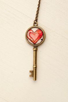 Heart Key Pendant, Gift for Friend, for Women, Love Gift, Love Key Photo Pendant Charm Necklace, Gift for Her, Boho Chic  Red Heart Pendant