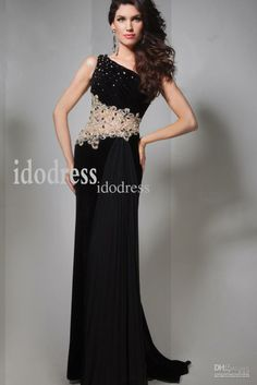 Black One-shoulder Brand-design Evening Dresses 2014 Sheath Column Chiffon Rhinestone Beads Prom Gowns yk-8A59