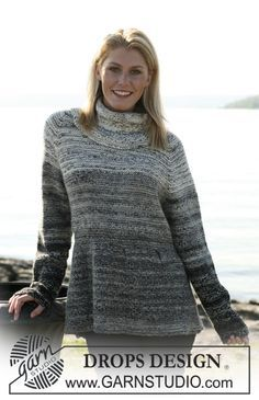"""Knitted DROPS jumper in """"Fabel"""" and """"Alpaca"""" with stripes and raglan sleeve…"""
