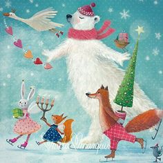 Some very early #xmas birds are preparing to party #milamarquis #editiongollong #greetingcards #illustration #snailmail #fox #icebear #christmas #winter #earlybird
