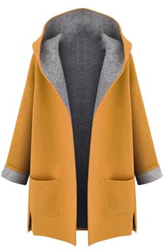 Free Shipping Worldwide for Womens Stylish Plus Size Hooded Cardigan Trench Coat Yellow, on sale now at our lowest price ever! Shop PinkQueen.com, the sexy way to save.
