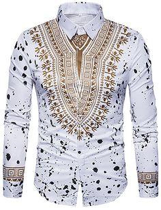 Printed Shirts Fashion Mens Shirts Long Chemise Homme Casual Camiseta Masculina Hip Hop Dress ShirtAsian Size 403 white M Tribal Shirt, Camisa Tribal, Dashiki Shirt, Mens Luxury Shirts, Hip Hop Dress, Casual Shirts For Men, Men Casual, Casual Wear