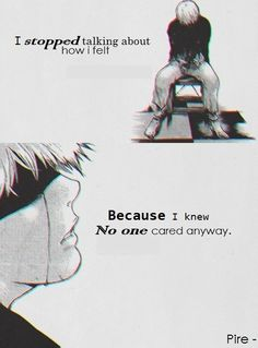 Tokyo Ghoul- Ken Kaneki- Probably one of the most pitiable characters in anime/manga history. Tokyo Ghoul Quotes, Ken Tokyo Ghoul, Otaku Anime, Manga Anime, Sad Anime Quotes, Manga Quotes, Kaneki, Film Anime, Image Manga
