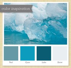 cool palette in teal, blue and gray.