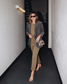 Frame Jumpsuit with grey blazer and neutral Givenchy cross body bag Business Attire, Business Fashion, Office Fashion, Work Fashion, Olive Jumpsuit, Interview Style, Work Chic, Classic Looks, Timeless Fashion